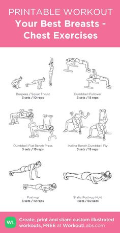 Your Best Breasts Chest Exercises:my visual workout created at WorkoutLabs.c Fitness Exercise Chest Workout Women, Chest Workouts, Fun Workouts, At Home Workouts, Best Chest Exercises, Shoulder Workout Women, Chest And Shoulder Workout, Gym Workout Plan For Women, Bike Workouts