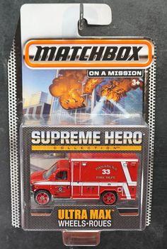 MATCHBOX 2014 SUPREME HERO COLLECTION F350 FORD AMBULANCE 1:64 ULTRA MAX WHEELS #MATCHBOX #FORD