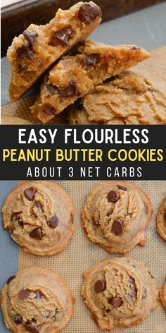 Low Carb Sweets, Low Carb Desserts, Healthy Sweets, Low Carb Recipes, Healthy Snacks, Cooking Recipes, Flourless Peanut Butter Cookies, Butter Chocolate Chip Cookies, Keto Cookies