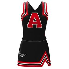 one ideal cheer uniform for me buy instead of an A mustangs written on it or west orange ! Cheer Practice Outfits, Cheer Outfits, Dance Outfits, Zombie Cheerleader Costume, Cheerleading Uniforms, Cheer Uniforms, Cheer Dance, Cheer Bows, Team Cheer