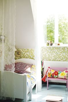 bright fresh kids room >>via milk, photos by lina ikse Lace Bedroom, Girls Bedroom, Bedroom Bed, Bedroom Decor, Ideas Habitaciones, Sweden House, Kids Decor, Home Decor, Deco Design