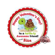 Valentine's Printable Tag-Happy Valentines Personalized Tags, Turtle and Lady bug Valentine's printable -Stickers (You Print) Valentine Theme, Happy Valentines Day, Printable Tags, Printables, Turtle Love, Personalized Tags, Diy Stickers, Sticker Paper, Favor Tags