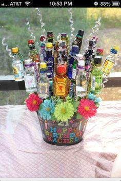 21st Birthday Gift Basket Idea Diy Bouquet Shots