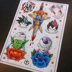 Some DBZ tattoo designs I made Dragon Ball Z Tattoo Flash Sheet Doodle Tattoo, 4 Tattoo, Tattoo Drawings, Body Art Tattoos, Small Tattoos, Sleeve Tattoos, Tattoo Quotes, Cartoon Tattoos, Anime Tattoos