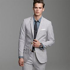 Brides.com: . A classic seersucker suit looks so dapper (and will keep guys cool during an outdoor ceremony). J.Crew