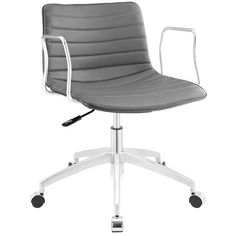 Buy Modway Celerity Office Chair in Gray EEI-1528-GRY online. Best price. Free Shipping on all orders over $49. Chair Mats, Sofa Chair, Grey Chair, Chair Upholstery, Desk Chairs, Modern Chairs, Midcentury Modern, Wooden Armchair, Mid Century Chair