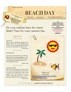 This is a description of how to run a beach day in the middle of winter to liven up your classroom. Great for when your middle school students ...