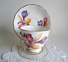 Tea Cup and Saucer Saucer Vintage Teacup and Saucer Royal Vale Crocus by treasurecoveally on Etsy