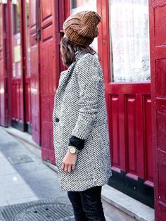 Women Houndstooth Tweed Wool Long Sleeve Long Coat Size S - XL. From 69,95 for Euro 39,75