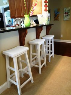 I was going back and forth for an upholstered or non upholstered bar stool and decided non-upholstered. I think they look okay, I can ...