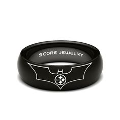 Black Tungsten Band with Domed Edge NFL Football Pittsburgh Steelers Batman Logo Ring