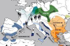 Schéma neolitizácie Európy (podľa D.Gronenborna)