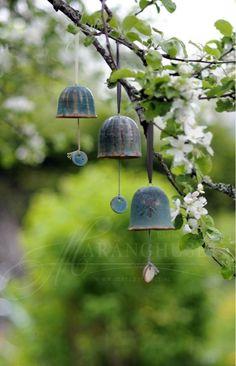 Sara makes the best bells ever! Bells by Sara G. Meditation Garden, White Gardens, Bell Gardens, My Secret Garden, Garden Ornaments, Dream Garden, Yard Art, Garden Inspiration, Feng Shui