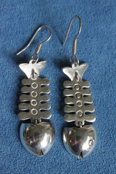 Vintage Signed Taxco Mexico Modernist Sterling Silver Long Pierced Fish Earrings #MEXICOSILVER #DropDangle