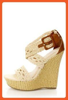Bamboo Women Pompey-39 High Wedge Sandals,Beige,8.5 - Sandals for women (*Amazon Partner-Link)