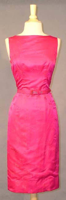 VIBRANT Fuchsia Damask 1960's Cocktail Dress w/ Matching Jacket  Item v4173 ... Price: $170