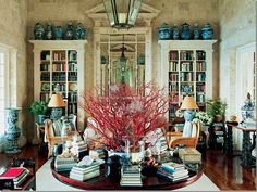 Blue & white ginger jars, vases, bowls and lamps displayed in Oscar de la Renta's Punta Cana beach house living room. (House Beautiful Dec/Jan 2012 via cote de texas)