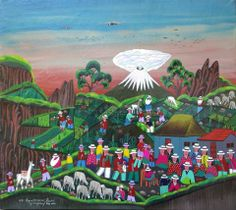 A colorful day outdoors in Ecuador! 'Tigua' Painting by Jose Vega Cuyo, size: 45cmX50cm. Painting Acrylic on hide