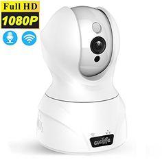 Sans fil Wifi Caméra IP, caméra Coolife 2Mpx 1920x 1080p jusqu'à 128Go, audio stéréo 2voies pour gegensprechen, PIR Vision nocturne…