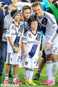 Making Memories: David Beckham celebrated his last LA Galaxy game with his boys Romeo, Cruz, and Brooklyn on the field Saturday.