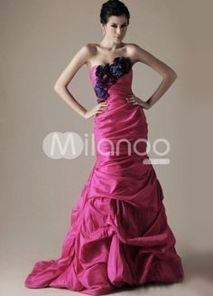 Amazing Fuchsia Chiffon A-line Sweetheart Sweep Evening Dress