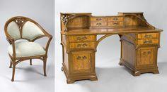French Art Nouveau Desk and Armchair by Gauthier AND Poinsignon Desks Furniture Antique Decorative Arts Tiffany Lamps Art Nouveau