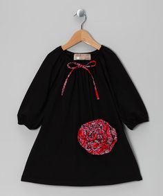 This Black Rosette Peasant Dress - Toddler & Girls by Lele Vintage is perfect! #zulilyfinds