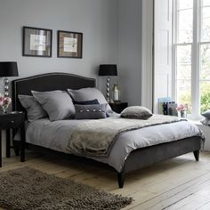 Montague Bespoke Bed   Feather & Black