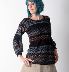 Long navy sweater Thin sweater in a wavy patterned knit by Malam