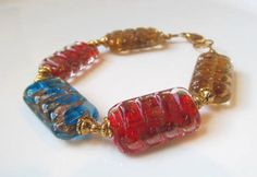 Multicolored Lampworked Glass Bracelet by MaeReneeJewelry on Etsy, $12.00