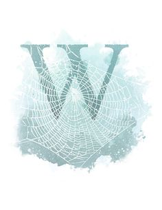 Letter W, spider Web, Nature Alphabet Initial Nursery 8.5 x 11