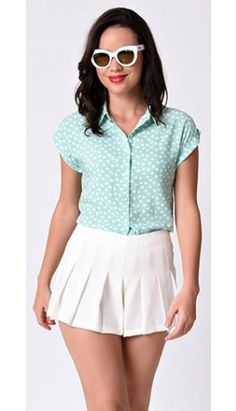 Mint   White Heart Print Cap Sleeve Button Up Blouse Mint Blouse f93276364a07