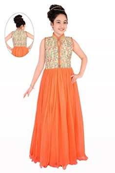 Girl's Designer Orange and Gold Colour Girls Party Wear Long Frock, Vasundhara Fashions Indian Clothing