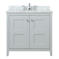 Home Decorators Collection Union Square 36 in. Vanity in Dove Grey with Natural Marble Vanity Top in White and Grey with White Basin 9483800270 at The Home Depot - Mobile Vanity Cabinet, Vanity Sink, Decor Interior Design, Interior Decorating, Interior Paint, Decorating Ideas, Modern Bathroom, Master Bathroom, Bathroom Ideas