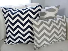 set of Three Pillow Covers - Navy Blue Chevron Zig Zag Stripes 18x18 - Gray Ikat 18x18 - Gray Lumbar in Chevron Stripes 12x16. $45.00, via Etsy.