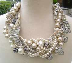 Chunky Pearl & Rhinestone Necklace Huge Bridal Statement Champagne Necklace Wedding Jewelry For Vintage Wedding (Tom Binns Inspired)