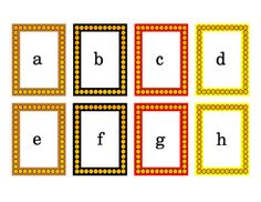 Please preview to see this colorful alphabet pack. Fall Colors, Halloween Colors, Alphabet Literacy Card Task Cards. Printable. Great for spelling, building words, sentences, vowels, consonants, bulletin board ideas, literacy center ideas. 4 pages.