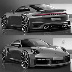 Car Design Sketch, Car Sketch, Cool Sports Cars, Cool Cars, Cool Sketches, Drawing Sketches, Vw Group, Car Illustration, Porsche Design