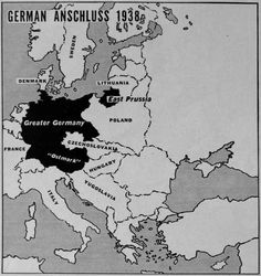 1938, in violation of the Treaty of Versailles, the Anschluss of Austria dissolves the border and annexes Hitler's homeland into Germany. Non-secret ballot and oppressive influence created an almost unanimous vote for the annexation and the occupation was executed peacefully, despite the general Austrian desire to maintain independence.