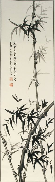 JP: China, scroll painting of bamboo, ink on paper, mounted on silk scrolls, calligraphy signatures and red seals....