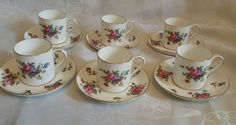pretty vintage Crown Staffordshire set of 6 coffee can cups saucers pink floral   | eBay