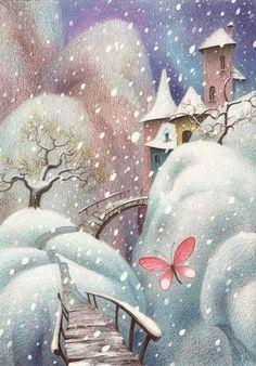 so pretty! love the snowfall. and russian! Art And Illustration, Christmas Illustration, Fantasy Kunst, Fantasy Art, Photo Images, Photo D Art, Naive Art, Winter Art, Whimsical Art