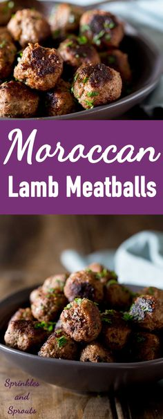 Low Carb Recipes To The Prism Weight Reduction Program Moroccan Lamb Meatballs. These Lamb Meatballs Are Simple To Make And There Are Some Fabulous Spices In These Flavor Packed Meatballs Sprinkles And Sprouts Meatball Recipes, Meat Recipes, Cooking Recipes, Lamb Mince Recipes, Healthy Lamb Recipes, Free Recipes, Recipies, Moroccan Meatballs, Salads