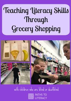 Collage of teaching literacy skills through grocery shopping