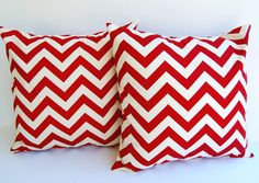 """Throw pillow covers set of two 18"""" x 18"""" cushion covers Red and Natural chevron zig zag. $34.00, via Etsy."""