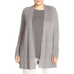 Plus Size Women's Eileen Fisher Straight Tencel & Merino Cardigan ($143) ❤ liked on Polyvore featuring plus size women's fashion, plus size clothing, plus size tops, plus size cardigans, pewter, plus size, lightweight open front cardigan, merino top, merino wool cardigan and cardigan top