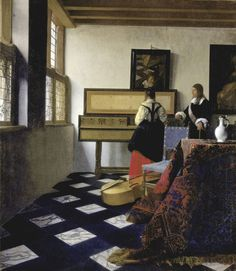 Johannes Vermeer (Delft - Lady at the Virginals with a Gentleman Johannes Vermeer, Rembrandt, Vermeer Paintings, Oil On Canvas, Canvas Art, Baroque Art, Dutch Golden Age, Museum, Dutch Painters
