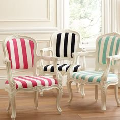Love the vintage style of these old chairs, mixed with the casual feel of beachy, striped fabric.  Will look for similar chairs in garage sales!