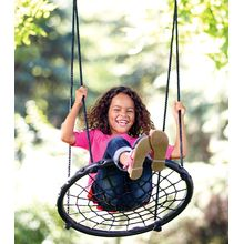 Kids can sit, kneel or lie down while swinging back and forth or in arcing circles—simply hang the sturdy swing from any tree or swing set for hours of fun. The durable 2-ft. diameter circular seat is tightly woven to keep riders safely on board. Holds up to 250 lbs.; hanging hardware not included.