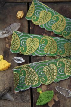 Green Scalloped Leaves: Green, Gold Jacquard Trim Ribbon, Sari Border 2 x 1 yard, Holiday Gift Wrap, Decorating, Wedding, Sewing Supply  Such a lovely shade of green, this leafy trim is perfect for decorating, gift wrapping, wedding decorating, and other crafty endeavors! Shimmery golden leaves twist and twirl across a sagey green jacquard trim. This one has unique scalloped edges. I hand-select these beautiful trims from a huge factory in India. Im like a kid in a candy shop over these…
